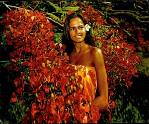 JD0001 cook islands rarotonga native girl flowers type ethnics flora samoa stamp