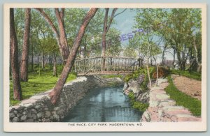 Hagerstown Maryland~Rustic Footbridge Over Stonewalled City Park Mill Race 1916