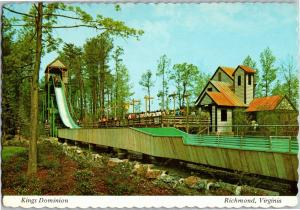 Shenandoah Lumber Co. Flume Log Ride Kings Dominion Richmond c1975 Postcard P14