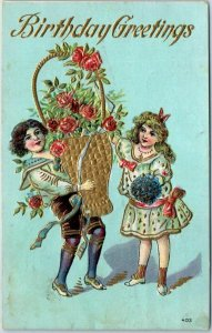 Vintage BIRTHDAY Greetings Postcard Boy & Girl / Very Large Basket of Roses 1909