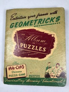 Vintage 1939 Geometricks Album of Puzzles Book 21 Puzzles & Ha-Cho Chinese Game