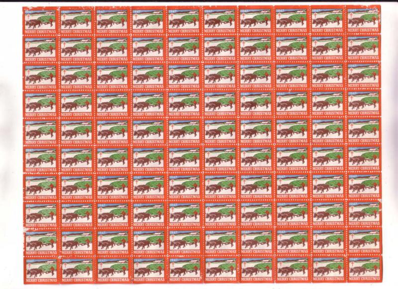 Full Sheet, 100 Christmas Seals, 1947