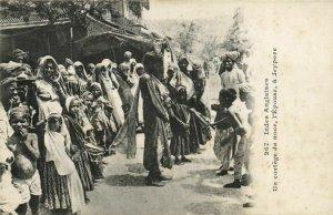 PC CPA INDIA, CORTÉGE DE NOCE, L'ÉPUSE Á JEYPORE, Vintage Postcard (b21851)