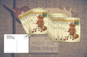 Easter Postcards in a set of 6, Hand-designed Cards Little Girl and Jelly Beans
