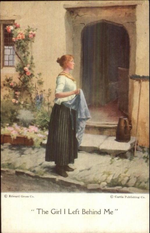 Beautiful Woman Doorway Taylor THE GIRL I LEFT BEHIND ME c1910 Postcard