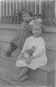 DR1/ Interesting RPPC Postcard c1910 Children Cute Doll Barefeet Steps