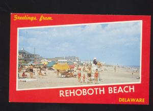 REHOBOTH DELAWARE SWIMMING BEACH SCENE VINTAGE POSTCARD