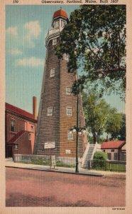 Portland, Maine, ME, Observatory, 1950 Linen Vintage Postcard g8259