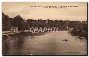 Nogent sur Marne Bry Old Postcard Marne and the slopes of Bry seen Bridge on ...