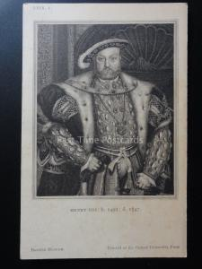 HENRY VIII born 1491 died 1547 Old Postcard by British Museum Oxford Uni Press