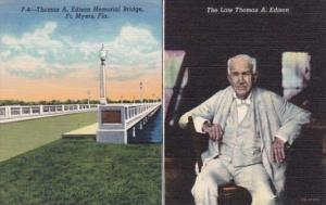 Florida Fort Myers Thomas A Edison & Thomas A Edison Memorial Bridge Curteich