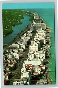 Miami FL- Florida, Hotels on Collins Ave, Oceanfront, Aerial, Chrome Postcard
