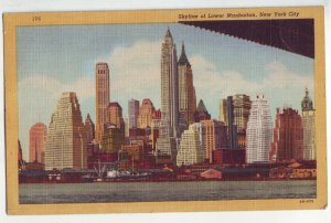 P1198 1953 postcard stamped skyline lower manhattan harbor new york city