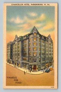 Parkersburg WV, Chancellor Hotel, Demolished 1977, Linen West Virginia Postcard