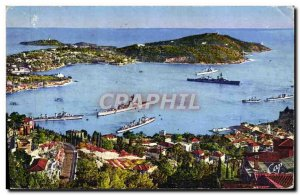 Old Postcard Villefranche Sur Mer View of the Bay and & # 39Escadre