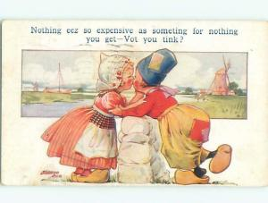Pre-Linen signed GIRL KISSING BOY AT THE FENCE AC1185