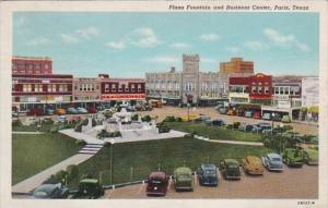 Texas Paris Plaza Fountain and Business Section 1943 Curteich