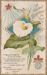 A HAPPY BIRTHDAY, PU-1910; April Flower Lily and April Stone Diamond