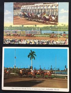 Postcards (2) Gulf Stream Park Florida 2 Unused 1 Linen Unused LB