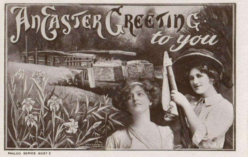 RP: EASTER Greetings , 2 women , 1900-10s