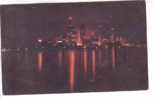 Night Skyline view of Detroit, Michigan, PU-1952