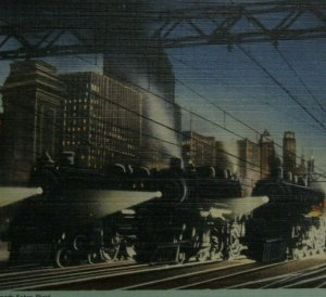 Postcard Linen Chicago Railroad Center of the World Trains At Night 1946