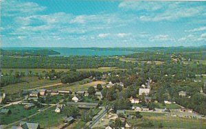 Covered Bridge Aerial View Of Shelburne Vermont