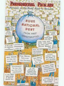 1982 Political NATIONAL DEBT UNDER PRESIDENT RONALD REAGAN POSTCARD AC7533