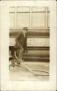 RR Train Car Pump & Hose Rail Worker Labor c1910 Real Photo Postcard