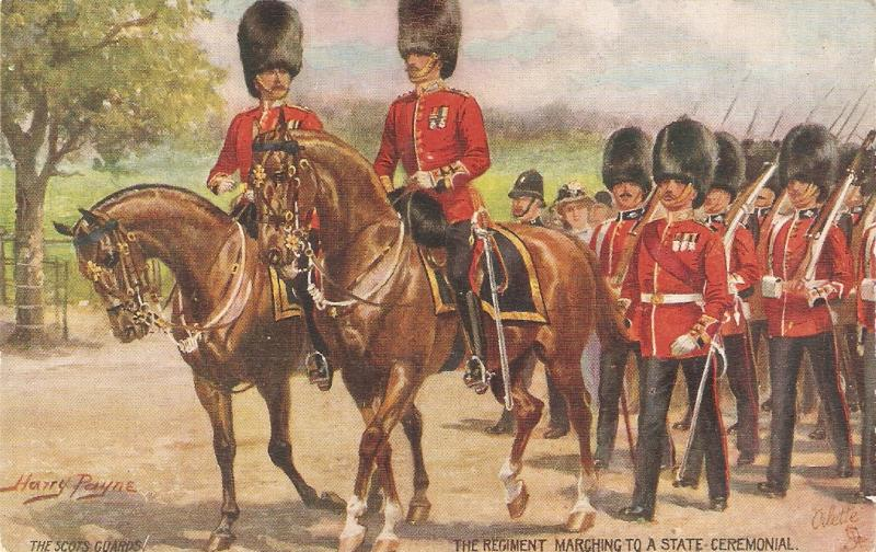 Harry Payne. Horses. TYhe Scots Guards marching Tuck Oilette PC # 8625