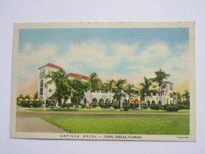 Antilla Hotel in Coral Gables FLORIDA Vintage Linen Postcard