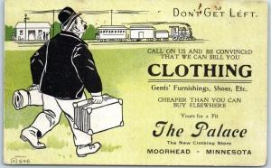 Moorhead, Minn. Advertising Postcard THE PALACE Mens' Clothing Store Train 1906
