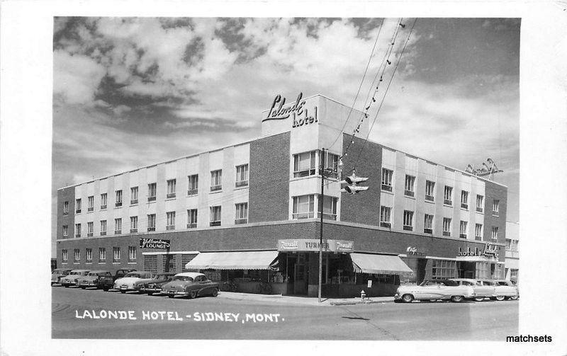 1958 Lalonde Hotel Sidney Montana Autos Real Photo Postcard 11471