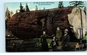 Huge Fir Log En-route to Mill Oregon Northwest Logging Railroad RR Postcard D14