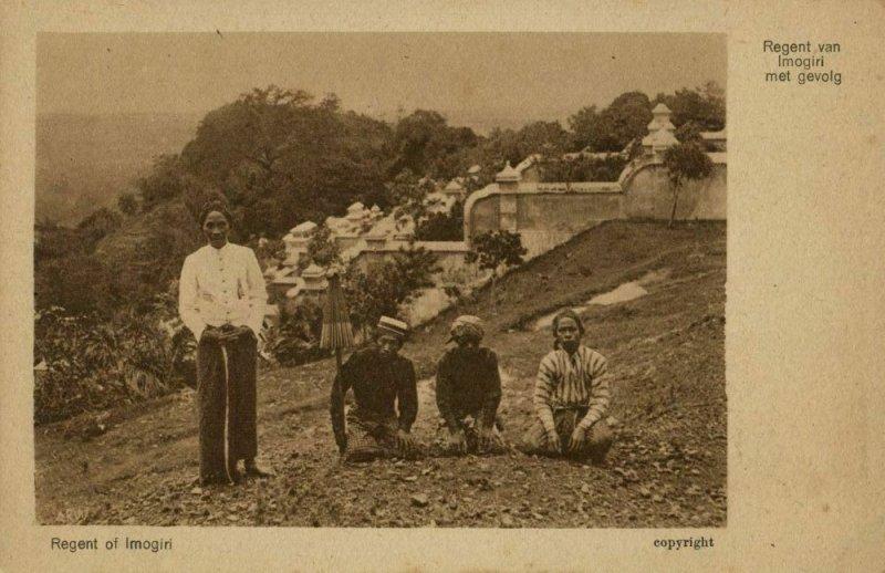 indonesia, JAVA YOGYAKARTA DJOKJA, Regent of Imogiri and Servants 1920s Postcard
