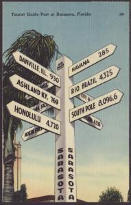 Tourist Guide Post,Sarasota,FL Postcard