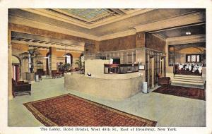 New York City~Hotel Bristol~Lobby~Check in Desk~West 48th Street~1916 Postcard
