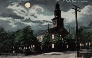 HALIFAX , Nova Scotia , Canada , 1900-10s ; St Paul's Church at night