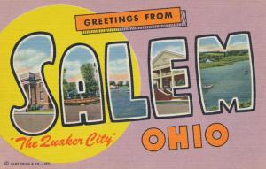 Greetings from Salem, Ohio - The Quaker City - Linen Large Letter