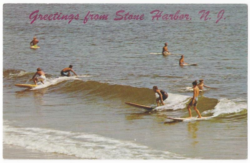 Surs Up Greetings From Stone Harbor NJ Surfers Vintage Tichnor Postcard