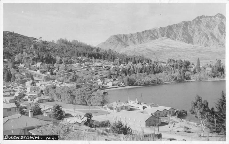 Queenstown New Zealand panoramic birds eye view of area real photo pc Z19726