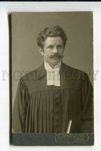428290 Latvia Libau PRIEST Pastor AUTOGRAPH 1912 y CDV PHOTO