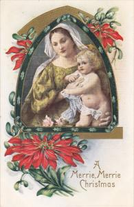 A Merrie, Merrie Christmas, Madonna and child, Poinsettias, PU-1916