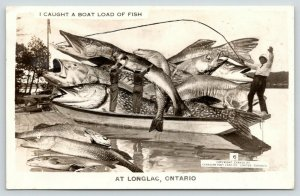 Longlac Bay ON~Paul Hasn't Caught Any Exaggerated Fish Like This (Yet)~RPPC 1919