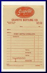 Grapette Bottling Co. Order Slip/Invoice, Springfield, Mi...