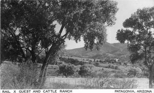 1950s Cattle Ranch Rail X Guest Patagonia Arizona RPPC Photo Postcard 5452