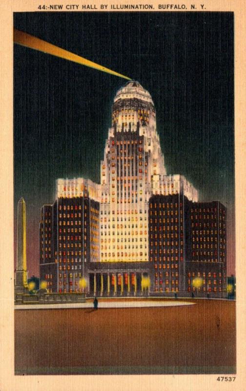New York Buffalo New City Hall By Illumination 1949