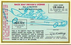 Humour Back Seat Driver's License No UR 666-2