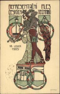 Expo? ART DECO Czech Representacni Ples Ceskych Techniku Leden 1905 Postcard