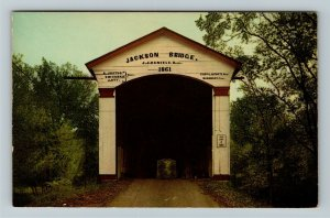 Rockville IN- Indiana, Jackson Bridge, Cover Bridge, Chrome Postcard